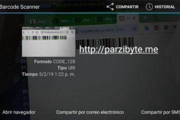 Código de barras generado con PHP escaneado
