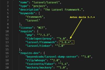 Cambiar archivo de composer para actualizar Laravel
