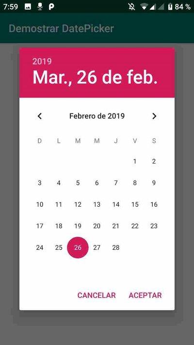 DatePicker activo en Android - Seleccionar fecha