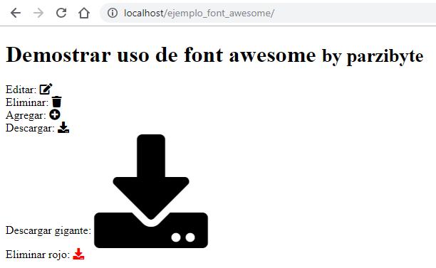 Demostración de uso de Font Awesome offline