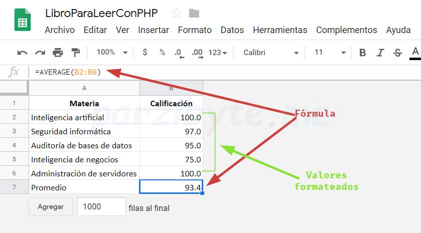 Explicación de hoja de cálculo para leer con PHP
