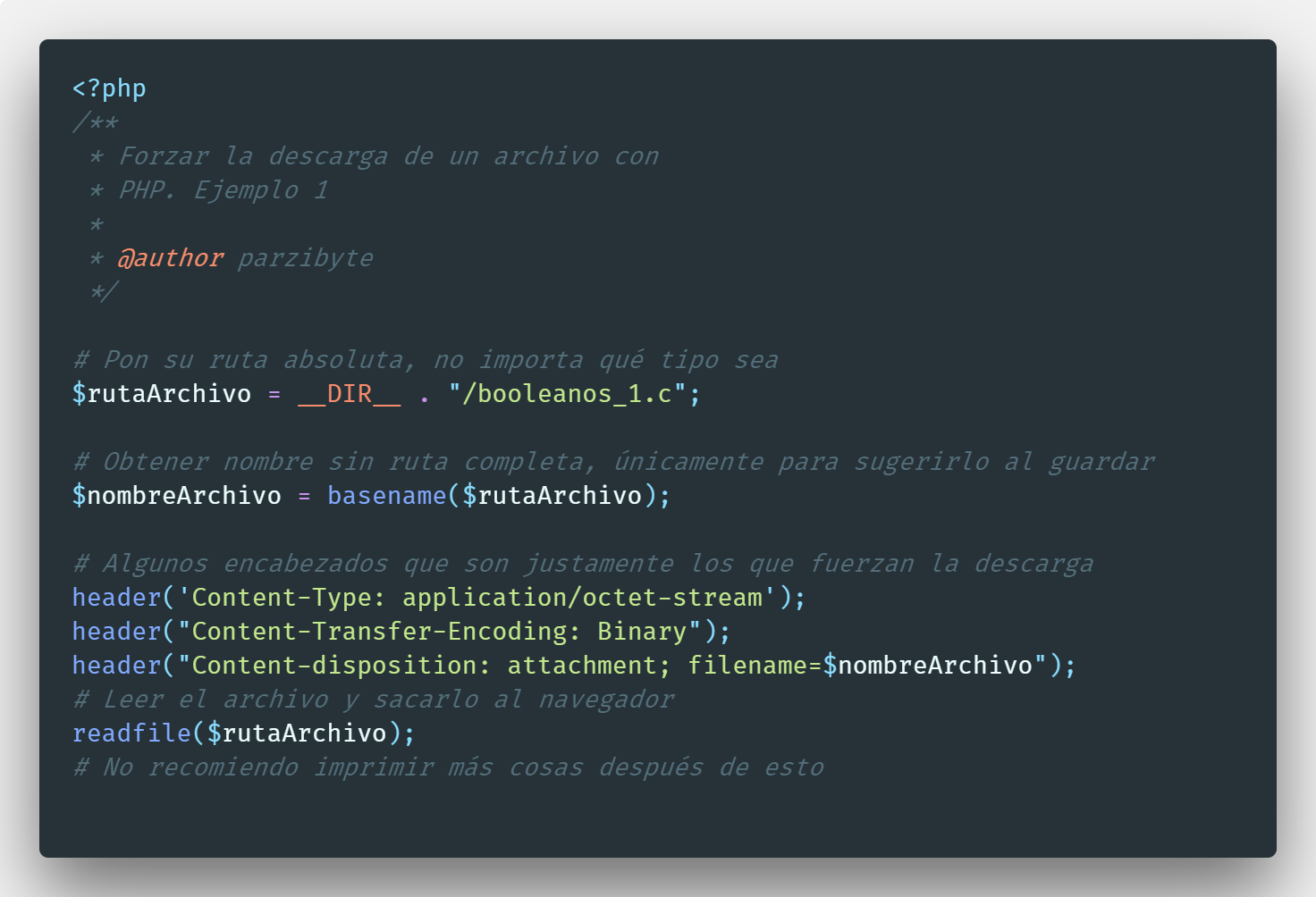 Forzar descarga de archivo con PHP y encabezados HTTP