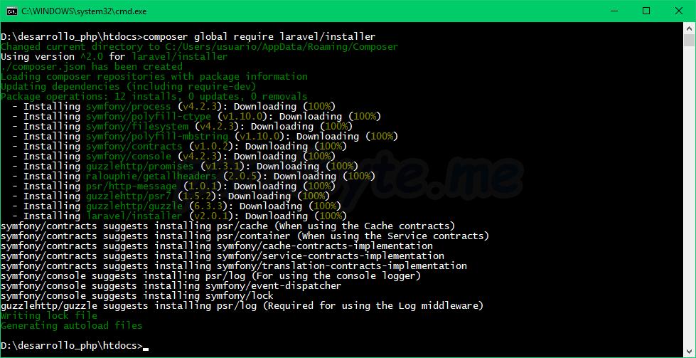 Instalar instalador de Laravel con Composer