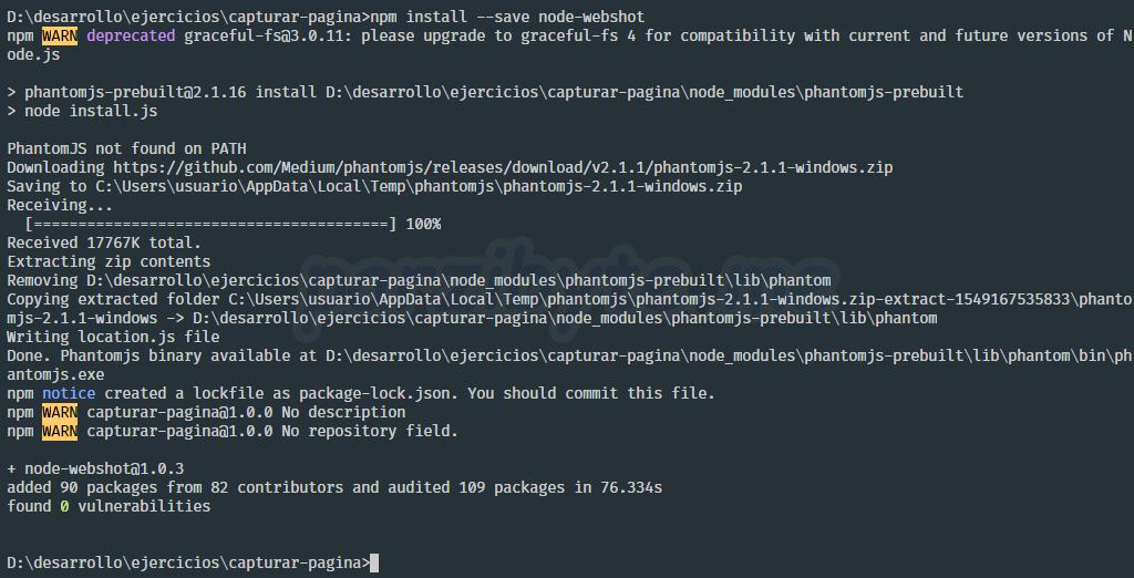 Instalar node-webshot para tomar screenshot de página web