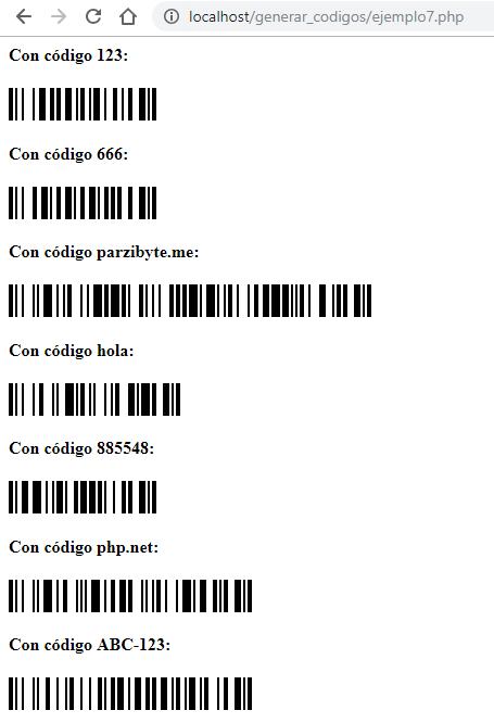 Múltiples códigos de barras generados con PHP