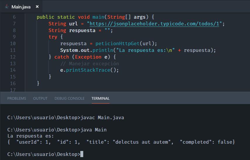 Probando petición HTTP GET con Java y JSONPlaceholder