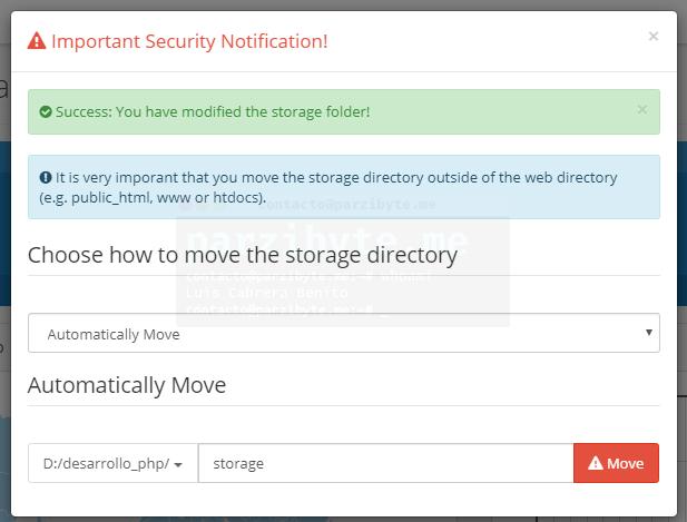 5.3 - Directorio de storage cambiado de ubicación