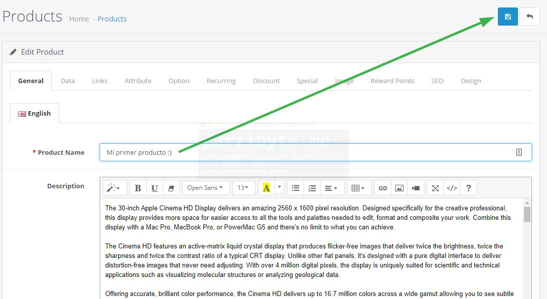 6.3 - Guardar cambios de producto - OpenCart