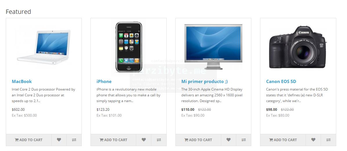 6.4 - Lista de productos actualizada - OpenCart
