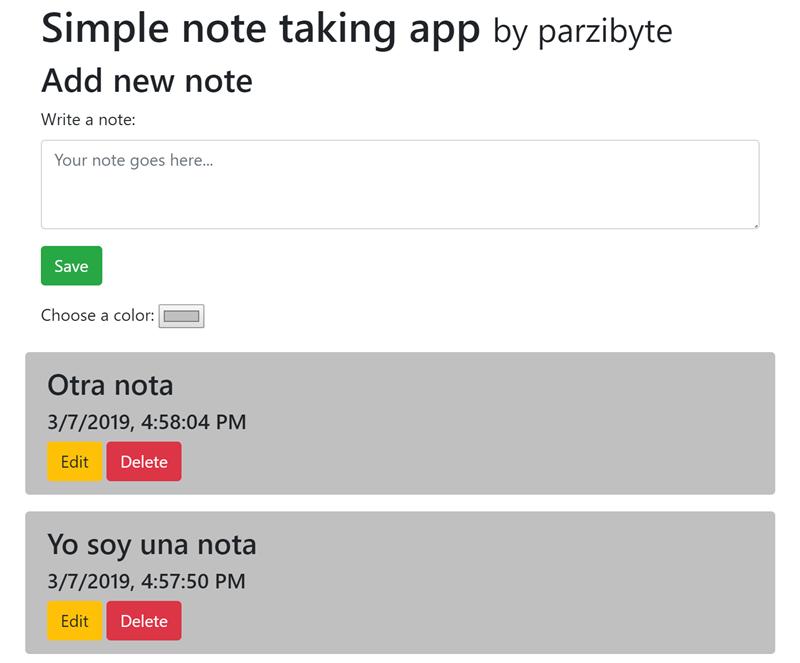 Aplicación de notas con localStorage, JavaScript, Bootstrap y Vue js