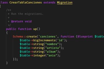 Creación de tabla dentro de MySQL con migración de Laravel