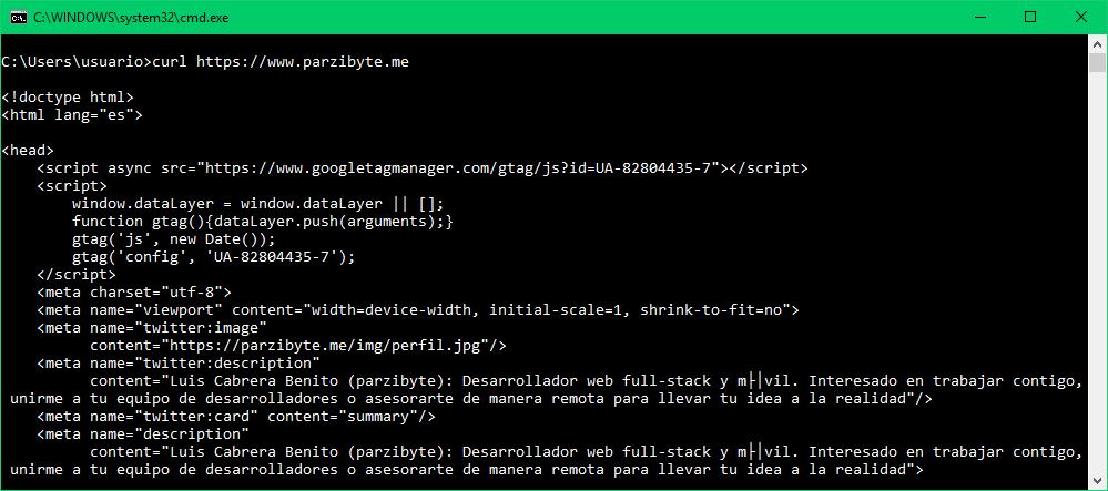 Curl para descargar HTML