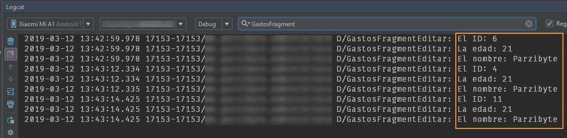 Datos recuperados en el fragmento