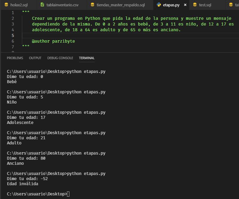 Ejercicio resuelto con Python - Etapa de una persona