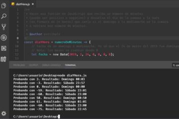 Ejercicio resuelto en JavaScript - Día y hora a partir del domingo a medianoche
