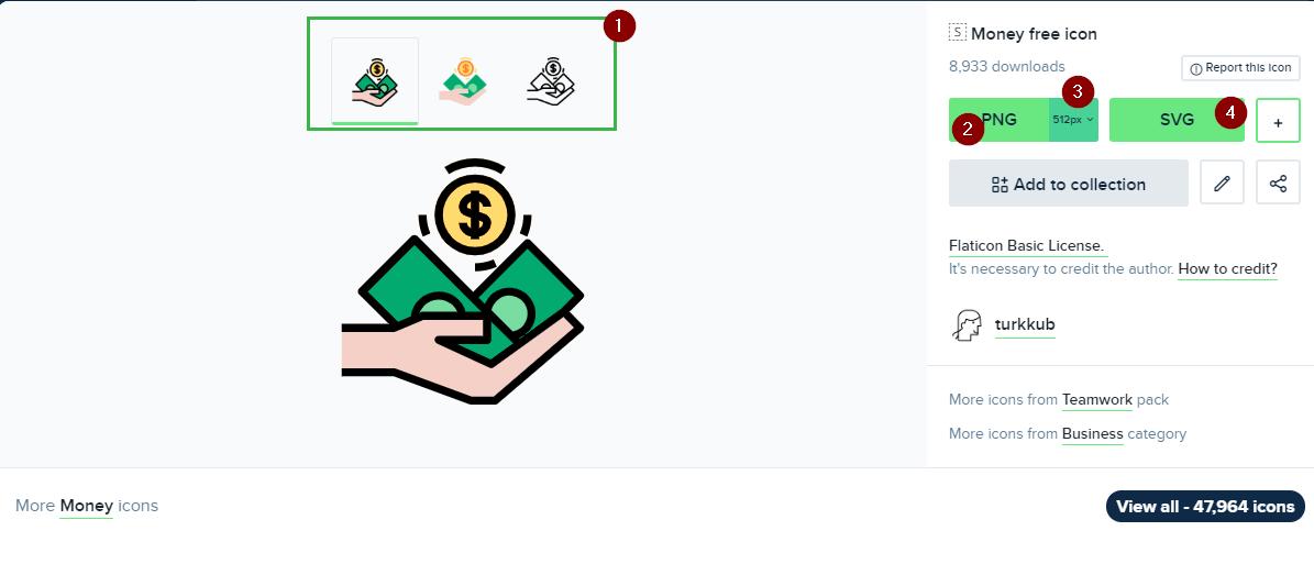 Elegir SVG o PNG, así como las variantes y tamaños del icono