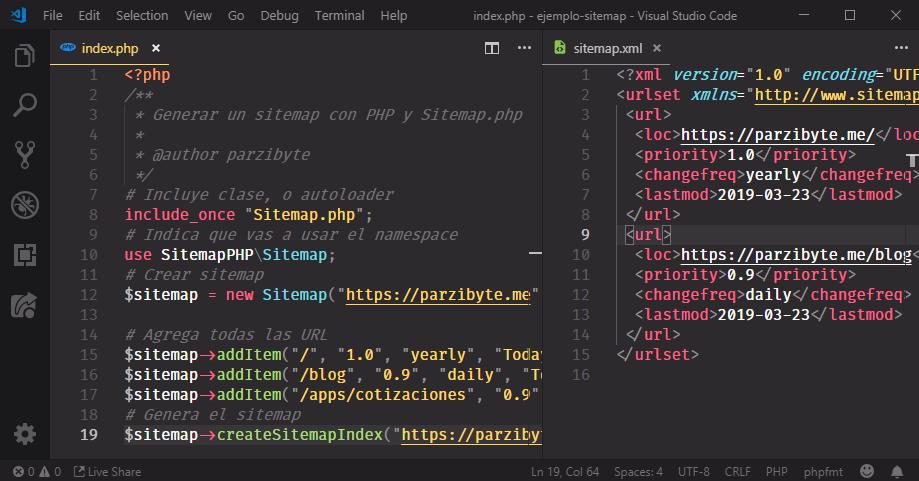 Generar sitemap con PHP