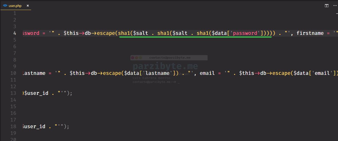 Hashear contraseña de OpenCart con SHA1