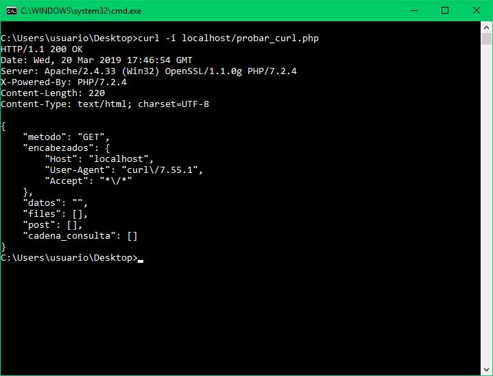 Mostrar encabezados HTTP de respuesta con curl y opción i