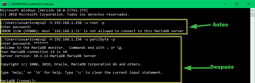 MySQL - MariaDB - Solución a host is not allowed to connect to this MariaDB server