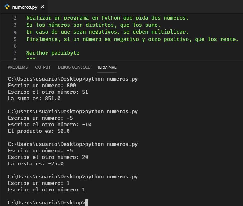 Números y operaciones - Ejercicio Python