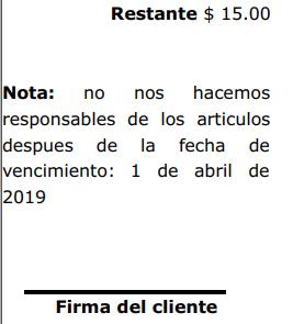 Pie de ticket de apartado - Firma de cliente y fecha de vencimiento