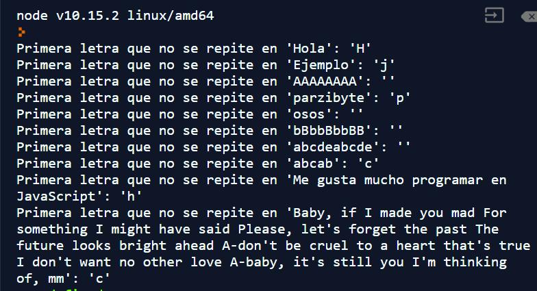 Primera letra que no se repite en JavaScript