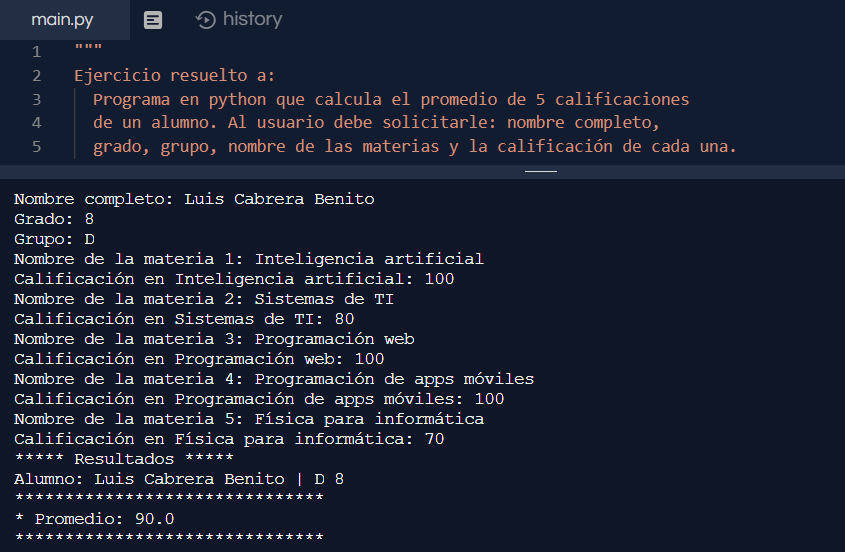 Promedio de 5 materias en Python