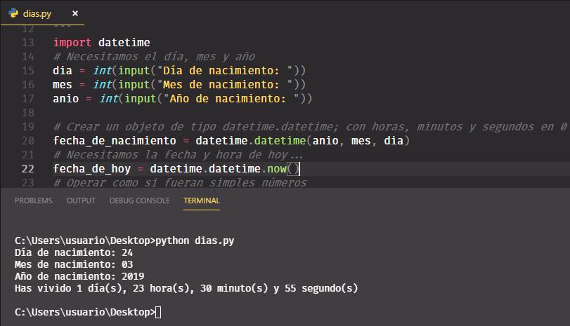 Python 3 - Días horas minutos y segundos que ha vivido una persona