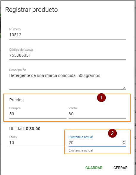 Registrar producto en inventario