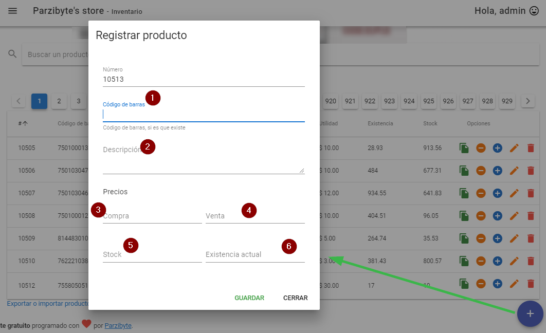 Registrar producto en sistema de ventas gratuito Sublime POS 3