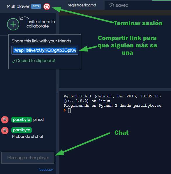 Sesión colaborativa con Python y replit