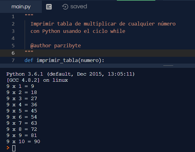 Tablas de multiplicar en Python usando while