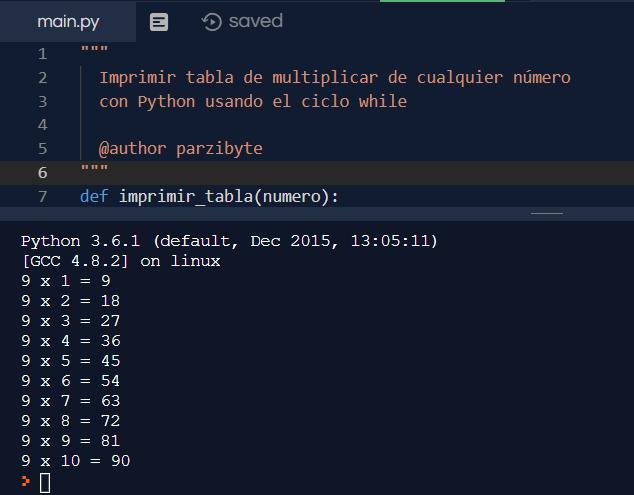 Tablas de multiplicar en Python usando while