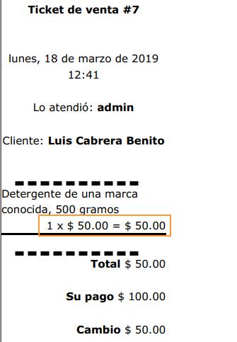 Ticket con precio cambiado - Sublime POS 3 punto de venta gratuito
