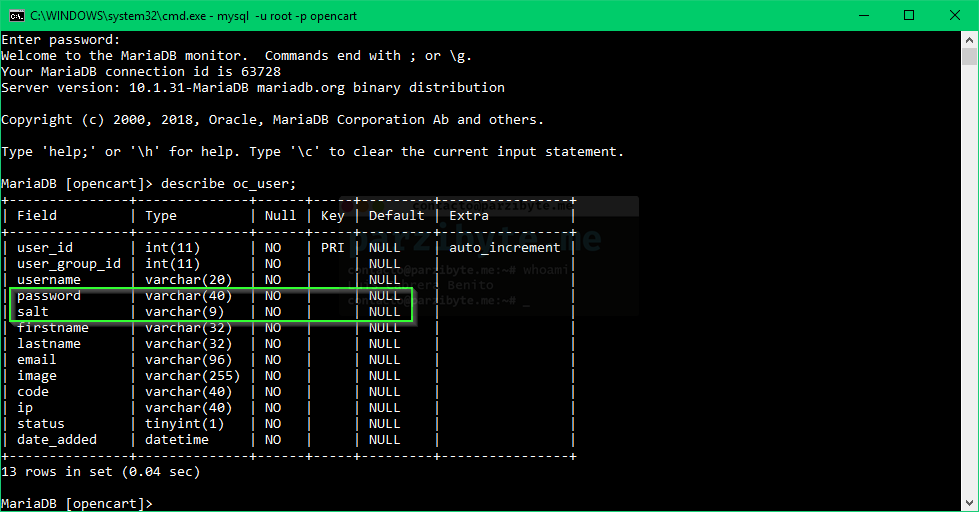 Ubicación de sal y contraseña de usuario en base de datos OpenCart