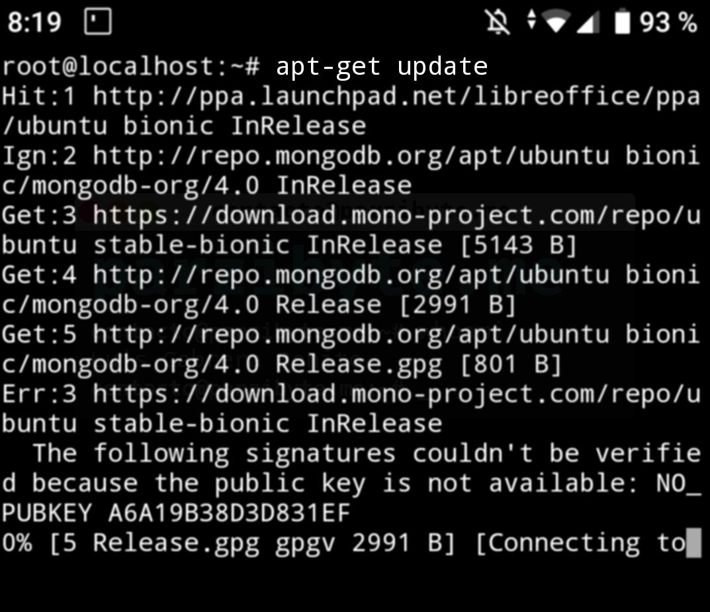 1 - Actualizar índices con apt-get update