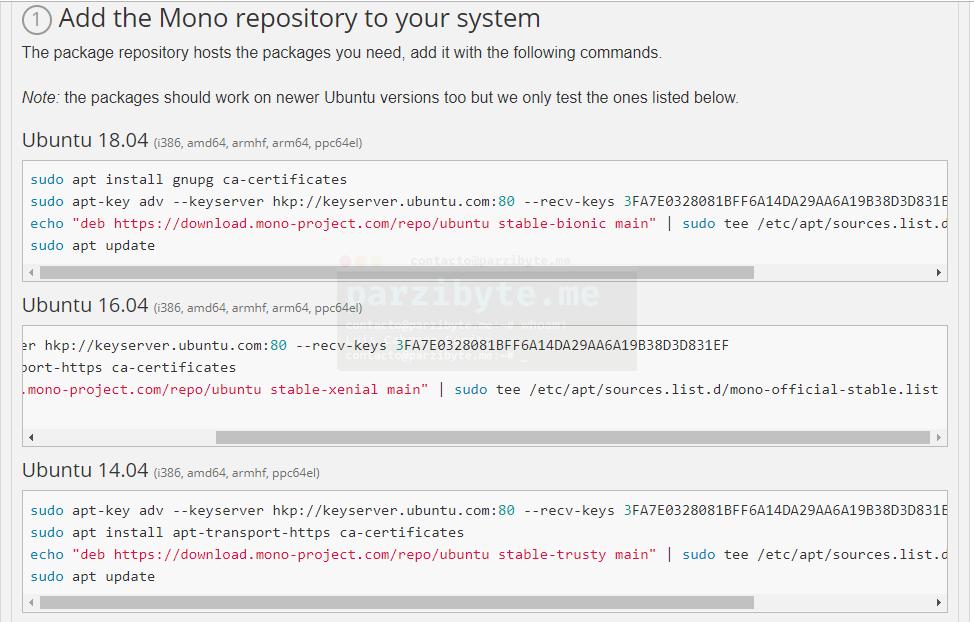 1 - Agregar repositorio de Mono a Linux Ubuntu en cualquier versión