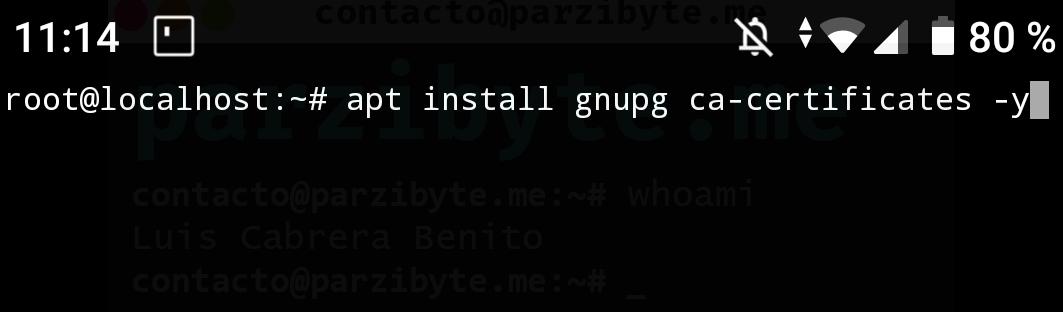 1 - Android y C# - Instalar gnupg y ca-certificates