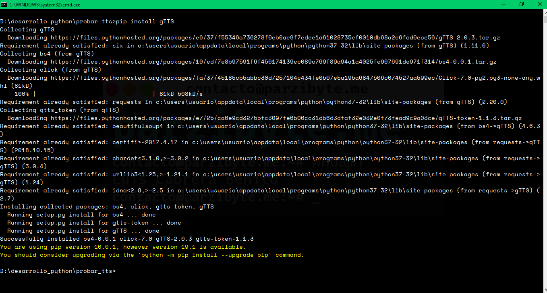 1 - Instalar paquete gTTS con pip