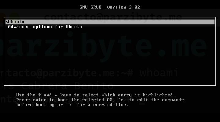1 - Seleccionar Ubuntu con opciones avanzadas
