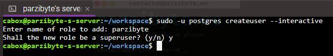 2 - Crear usuario de postgreSQL