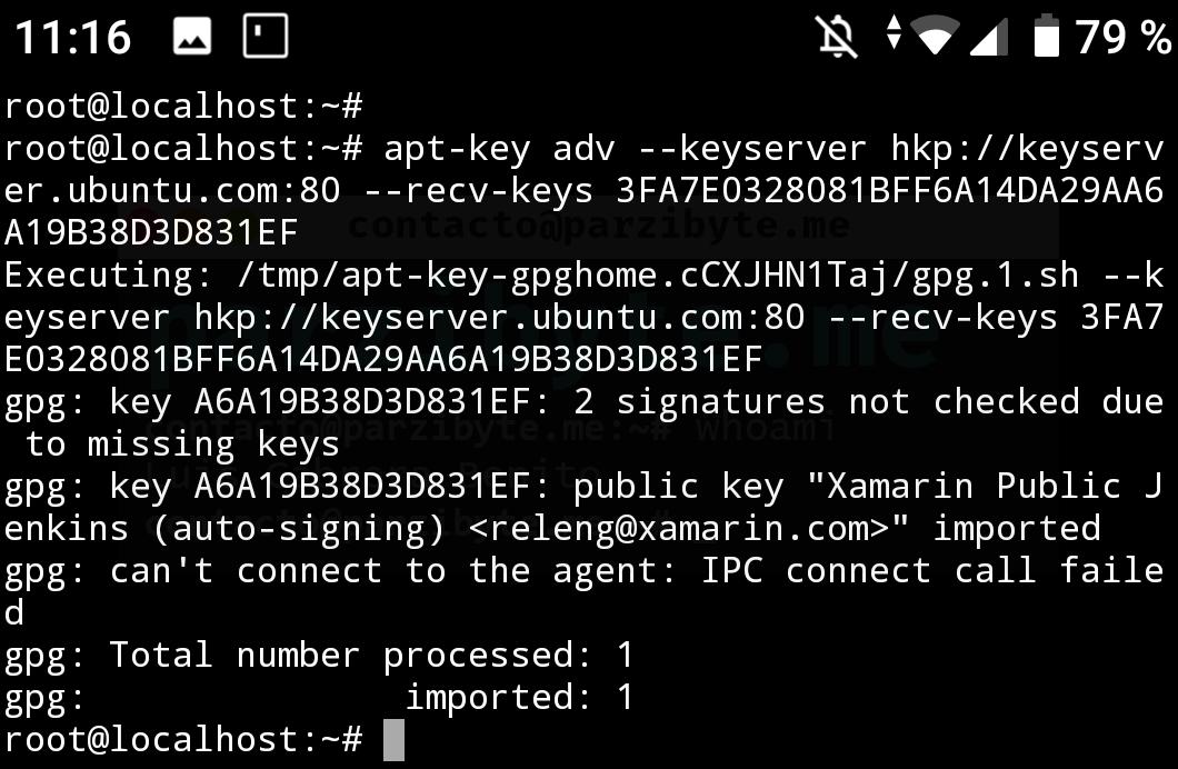 3 - Agregar clave para instalar mono en Android