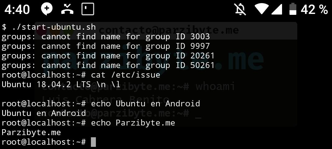 5 - Probar instalación de Ubuntu en Android con Termux