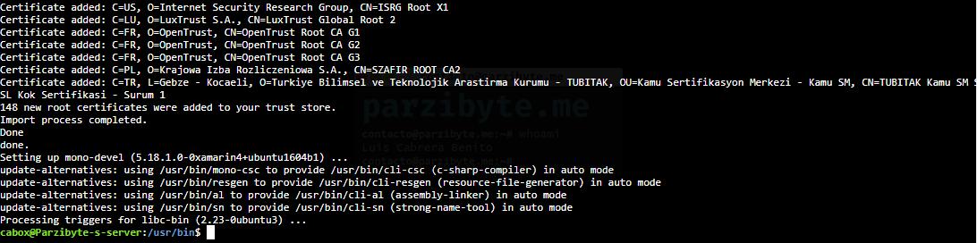 7 - Instalación de mono en Linux Ubuntu finalizada