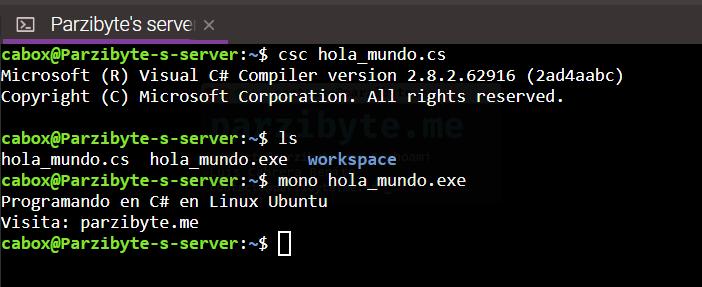 9 - Compilar y ejecutar programa de C# en Linux Ubuntu con Mono