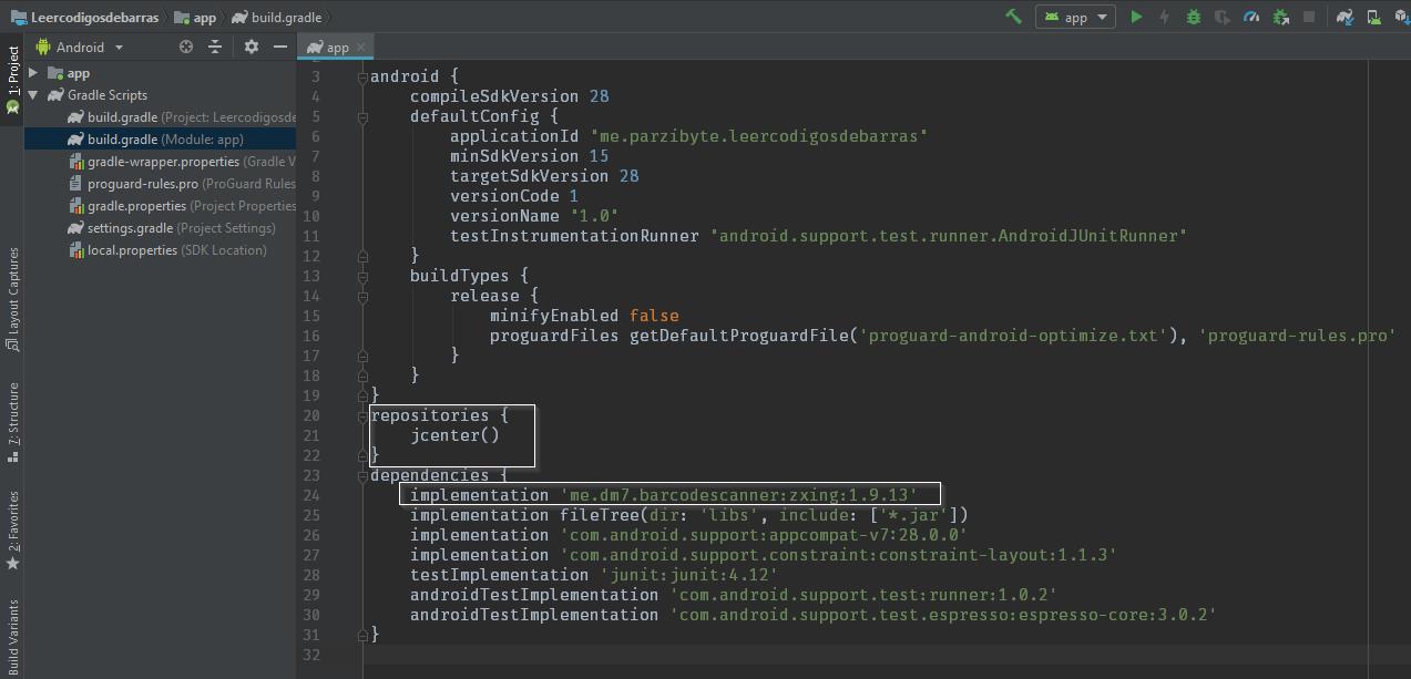Archivo gradle implementando barcodescanner zxing