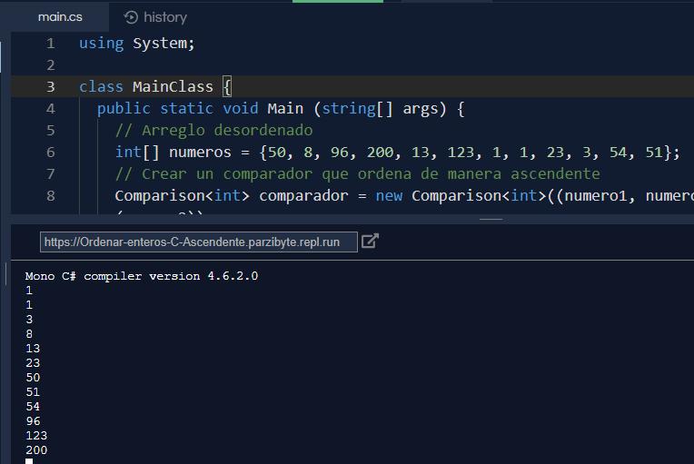 Arreglo ordenado de manera ascendente en C#