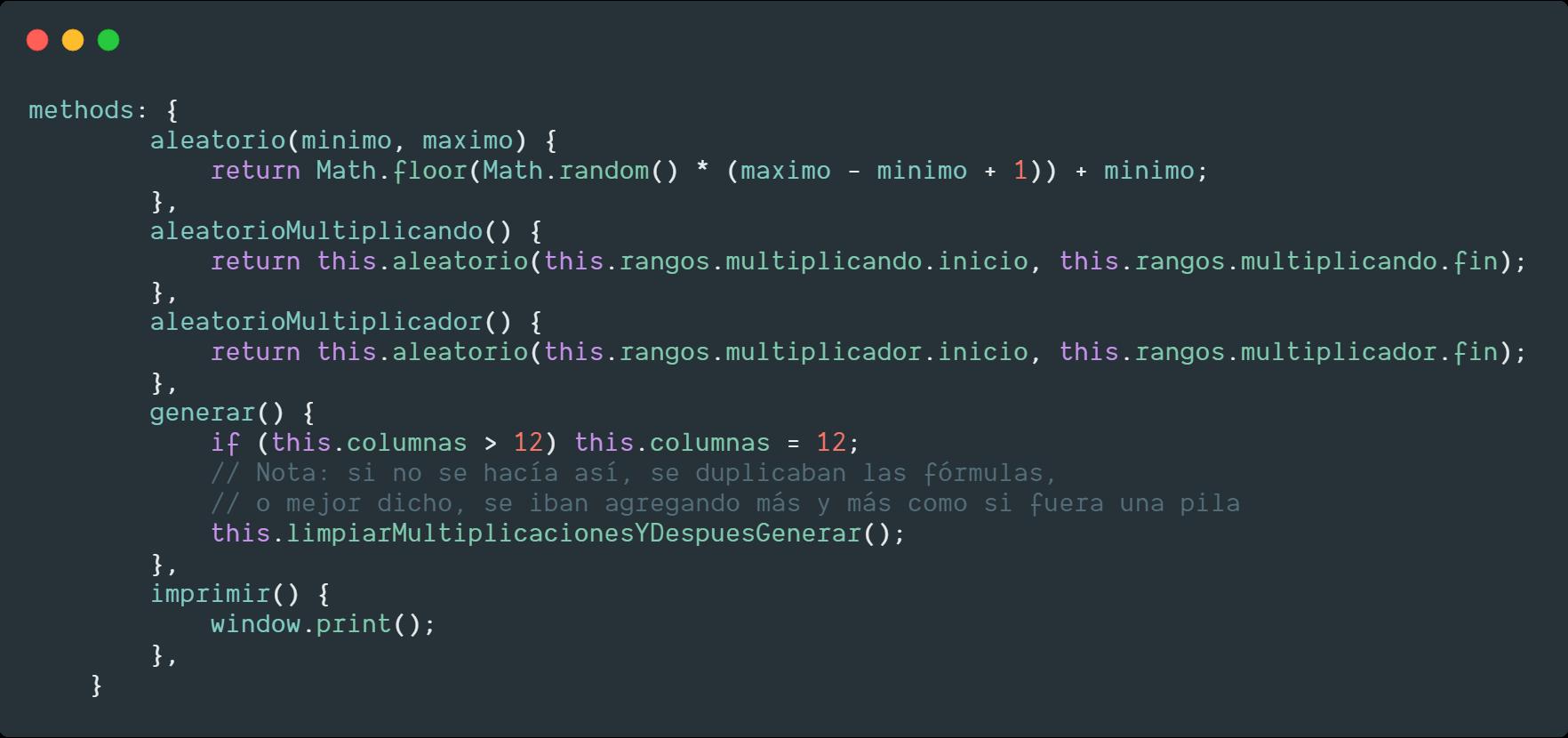Código del generador de multiplicaciones - números aleatorios con JS