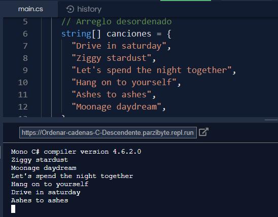 C# - Arreglo de cadenas descendente alfabéticamente